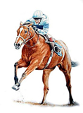Race Horse in Water Colour 15'' x 11''